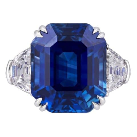 An 18.5-carat Kashmir sapphire and diamond ring. Offered by M.S. Rau Antiques.