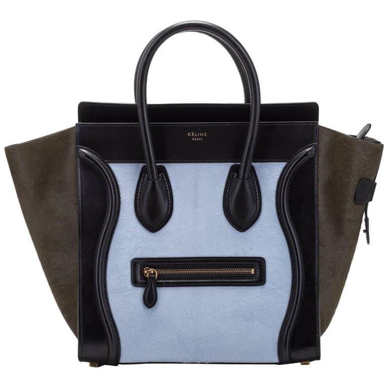 Celine Tricolor Pony Hair Mini Luggage Bag