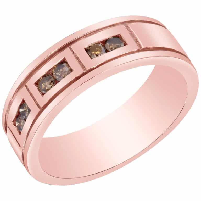 rose gold men's band ring