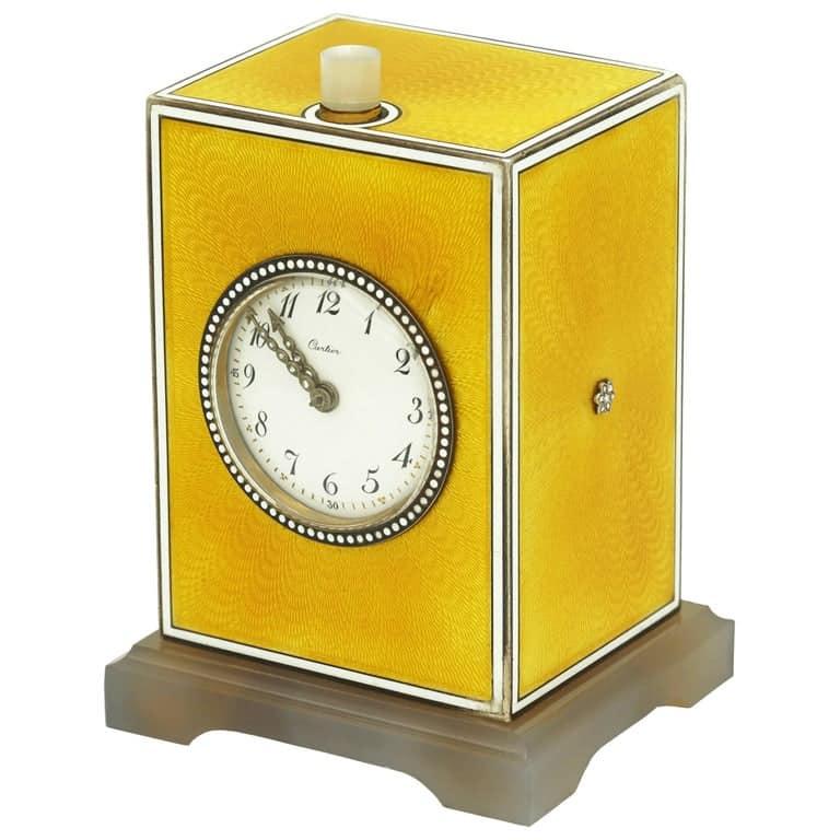 Cartier Edwardian Yellow Enamel Minute Repeater Pendulette, Circa 1900
