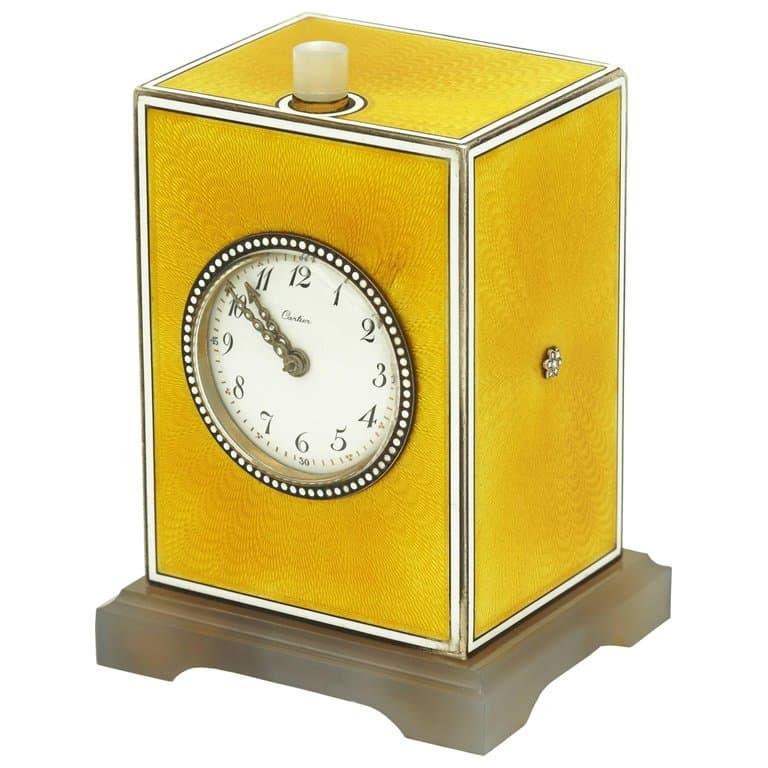 Edwardian Cartier clock in yellow enamel, silver, agate and diamonds, 1900–5