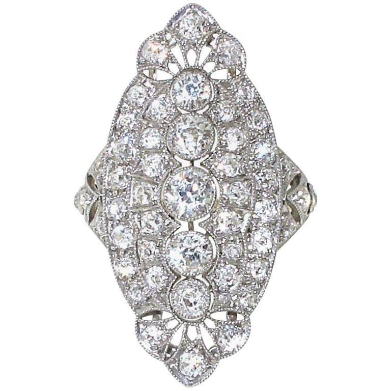 Platinum and Diamond Edwardian Engagement/Fashion Ring