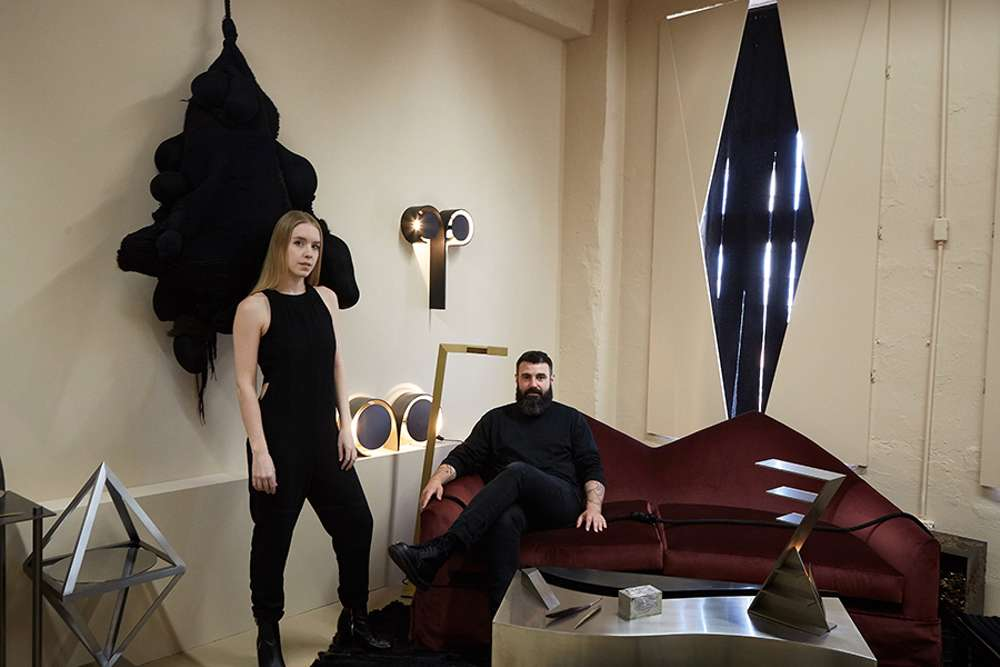 Lauren Larson and Christian Swafford of Material Lust, who collaborated on a series of textiles with To Dødsfall.