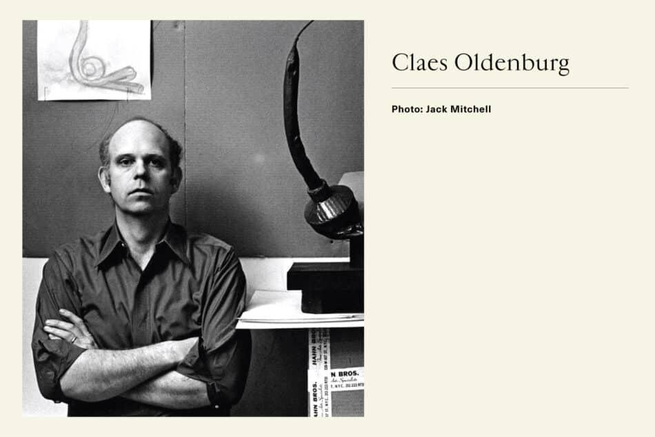 Black and white photograph of Pop Artist Claes Oldenburg