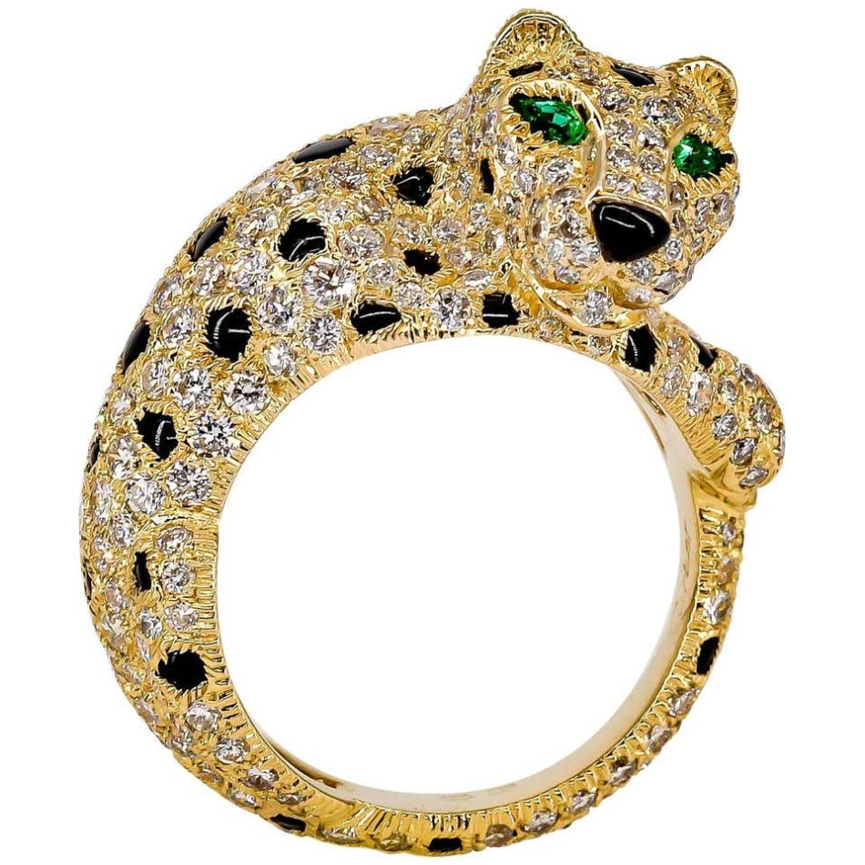 Cartier Panthere Rare Diamond Emerald, Onyx and Gold Ring, 20th century