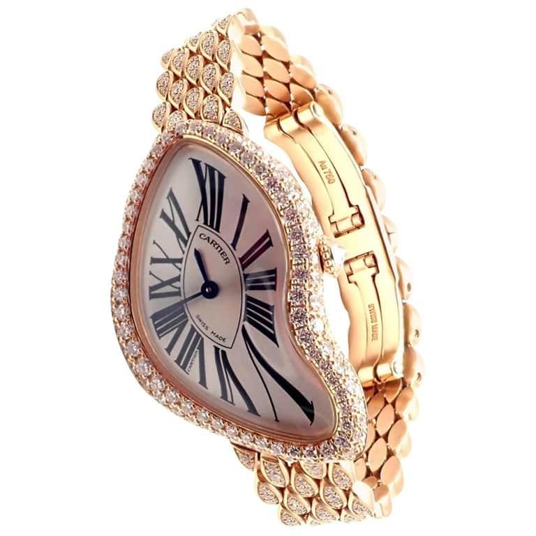 Cartier Rose Gold Diamond Limited Edition Crash Wristwatch Ref HP100653