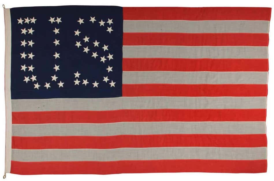 44-star flag with stars that form the letters U.S., 1890