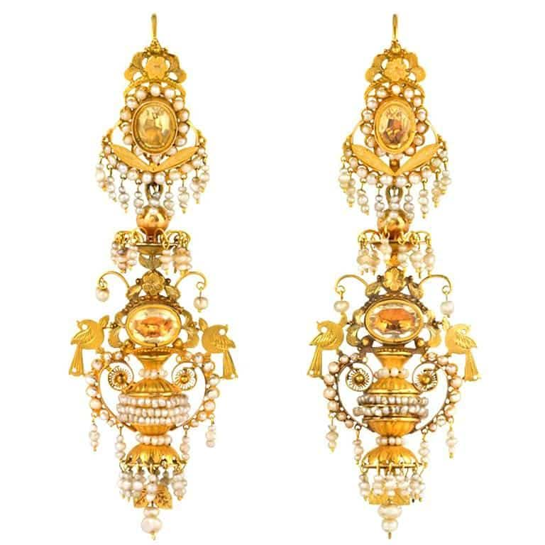 Gold, citrine and seed pearl earrings, ca. 1820