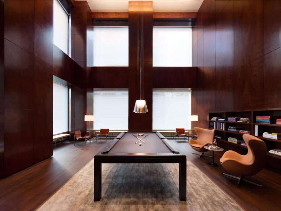 The billiards room and library at 432 Park Avenue, New York's super-tall residential skyscraper designed by Rafael Viñoly