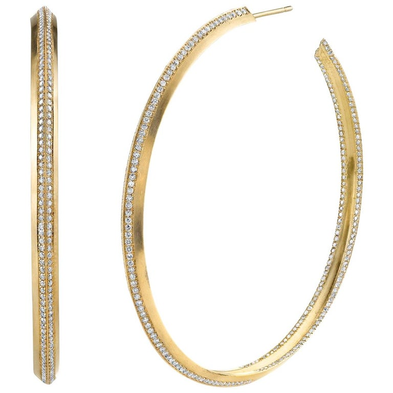 Karma El Khalil 18 Karat Yellow Gold Diamond Line Hoops