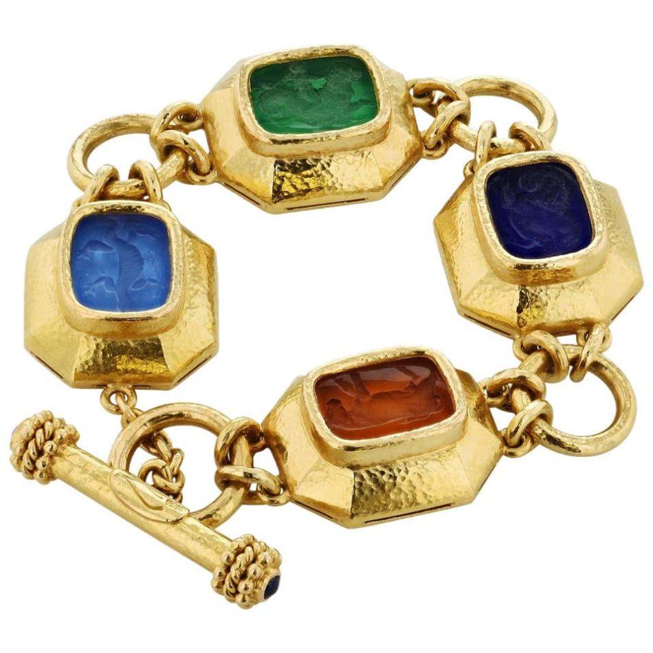 Elizabeth Locke Venetian glass animal intaglio gold toggle bracelet, 2010-