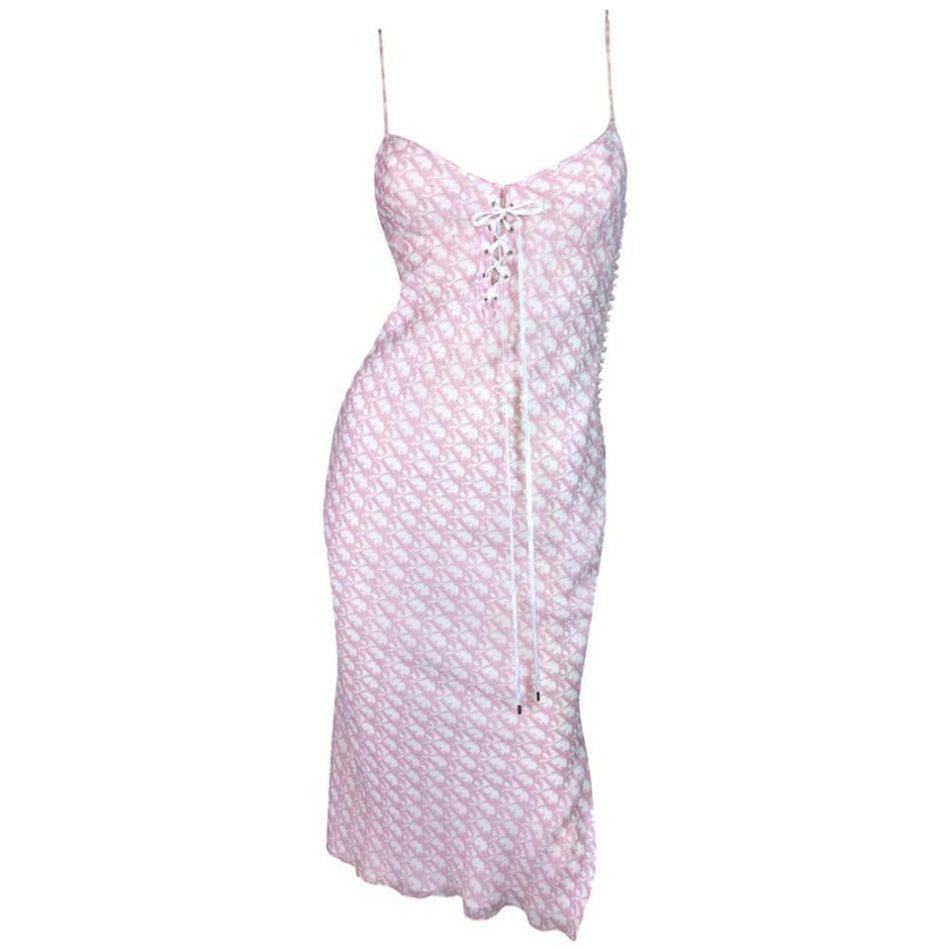 John Galliano for Christian Dior Pink Monogram Logo Silk Tie Dress, Spring/Summer 2004
