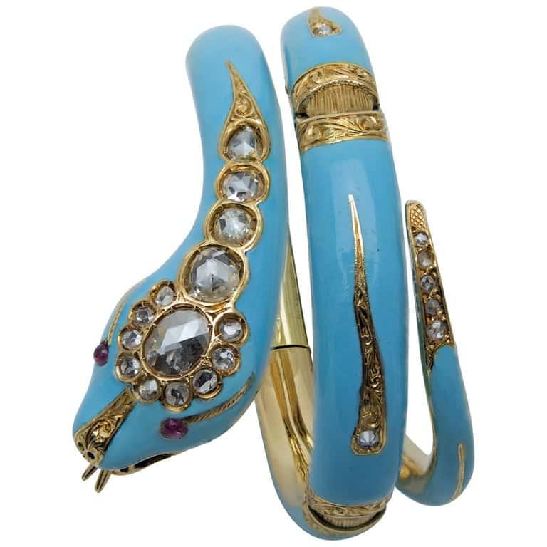 Enamel, gold, diamond and ruby snake bracelet, ca. 1870