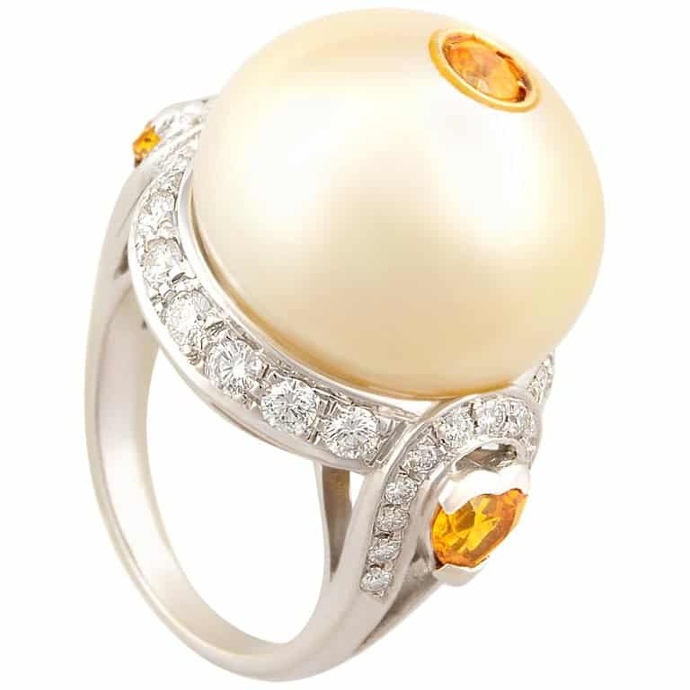 Ella Gafter golden pearl and diamond ring with yellow sapphires