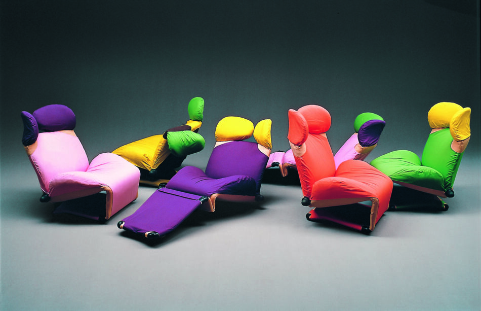 Collection of colorful Wink Lounge Chairs by Toshiyuki Kita