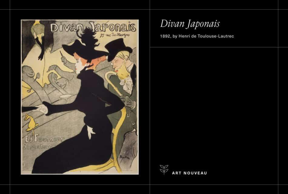 Toulouse-Lautrec's Divan Japonais on a black background