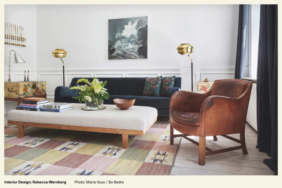 living room decorated with mid-century modern furniture