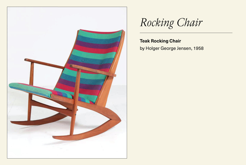 Striped teak rocking chair
