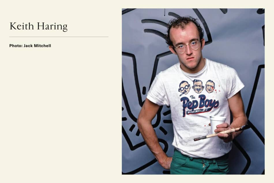 Portrait of Pop Artist Keith Haring with paintbrush in hand