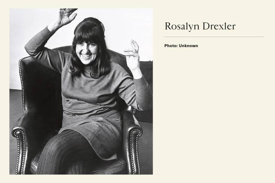 Black and white photograph of Pop Artist Rosalyn Drexler