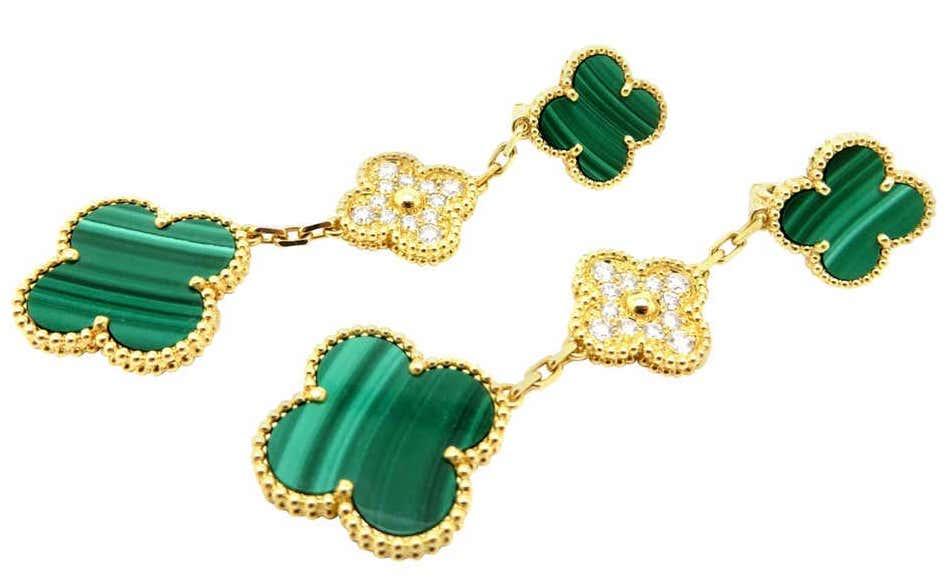 Van Cleef & Arpels malachite and diamond Alhambra earrings