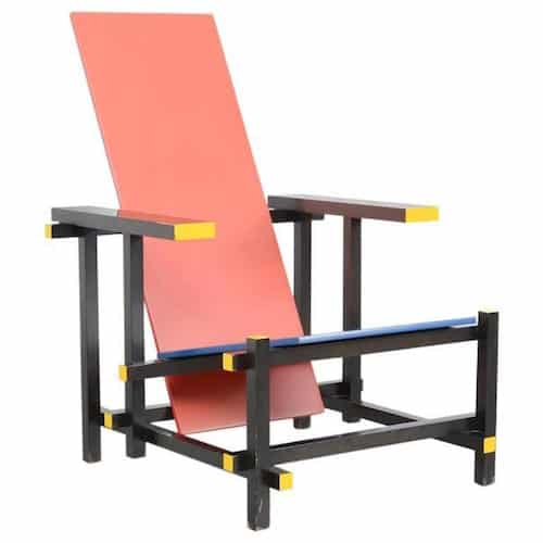 Gerrit Rietveld for Cassina Red and Blue chair, ca. 1974.