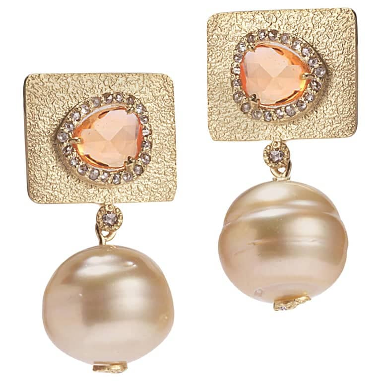 Coomi golden south sea pearl earrings