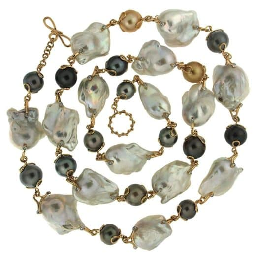 A strand of Baroque freshwater pearls. Offered by Valentin Magro.