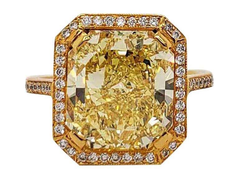 Scarselli 6.70 Carat Fancy Vivid Yellow Radiant Cut Diamond Ring