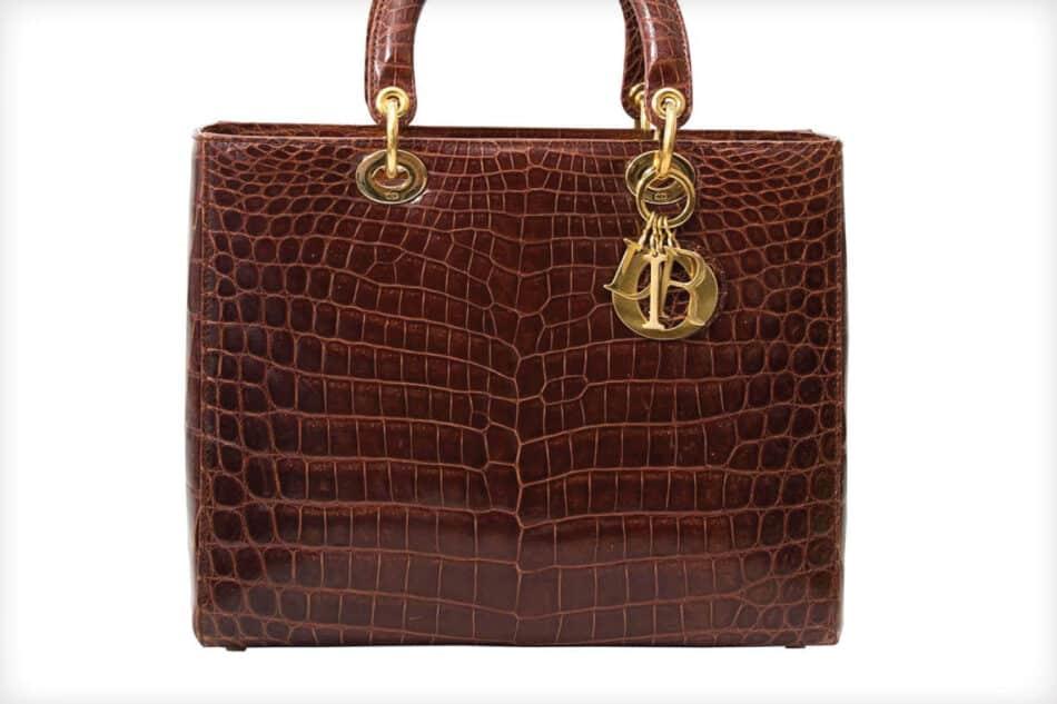 Dior Brown Croco Lady Dior Bag