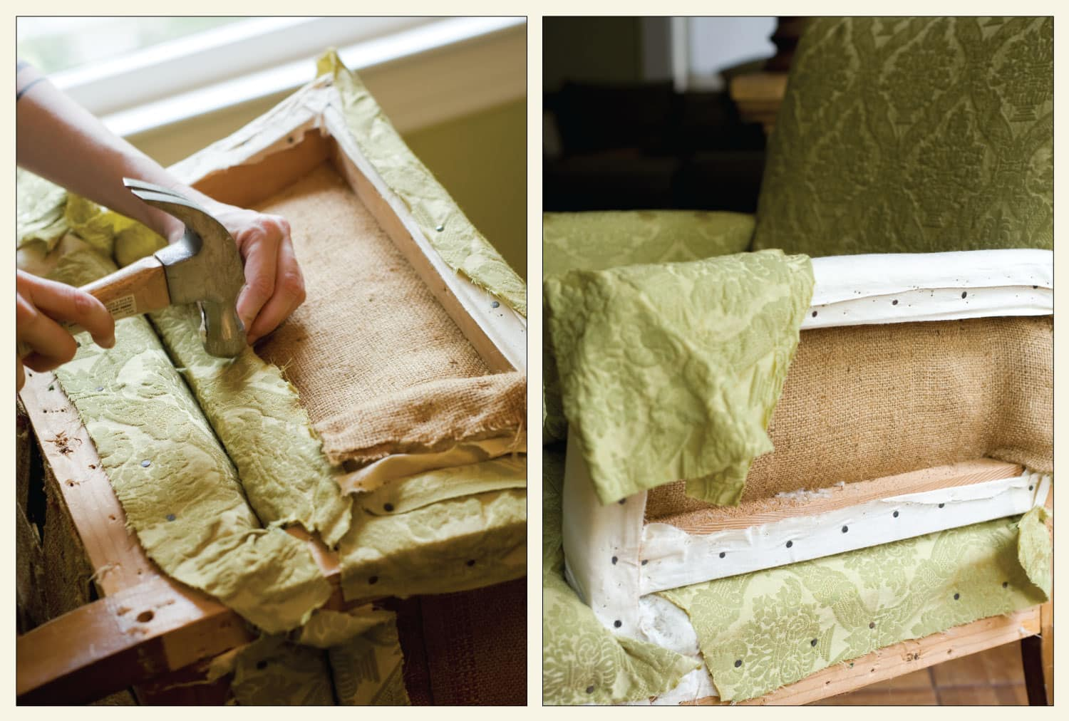 An upholsterer hammers nails into an armchair to hold the new fabric in place
