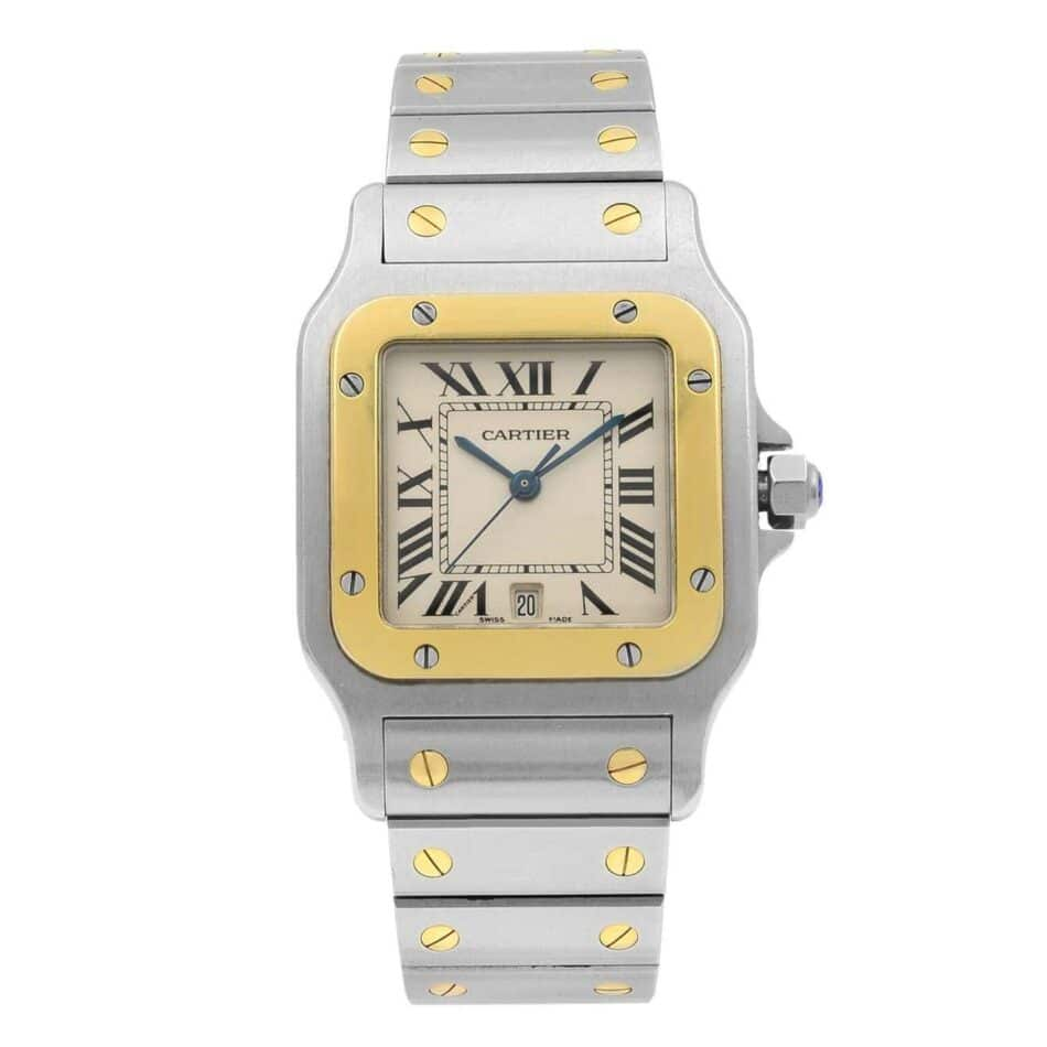 Cartier Santos watch in steel and yellow gold