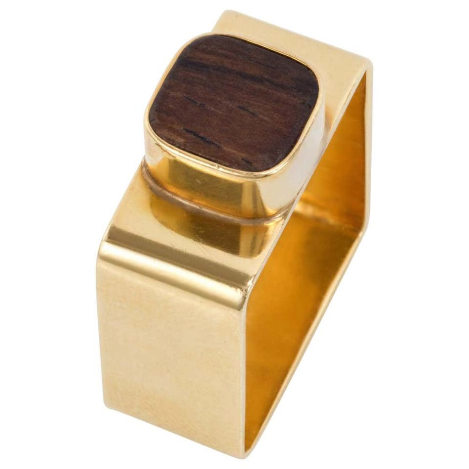 Jean Dinh Van for Cartier wood and gold ring, 1960s