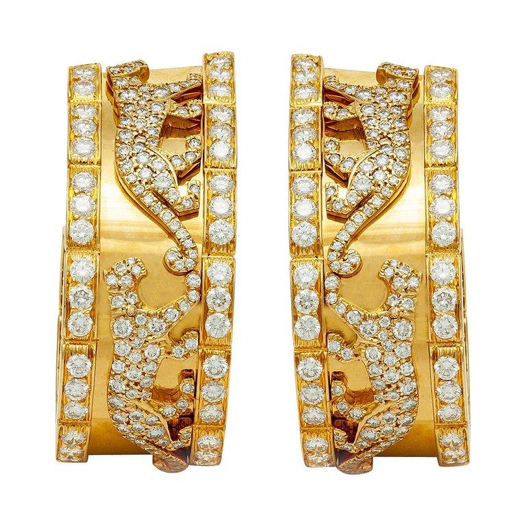 Cartier diamond panther earrings, 1980