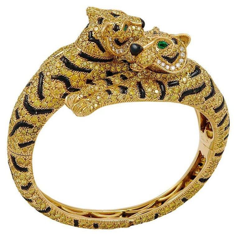 Cartier Fancy Yellow Diamonds Two Headed Tiger Bangle