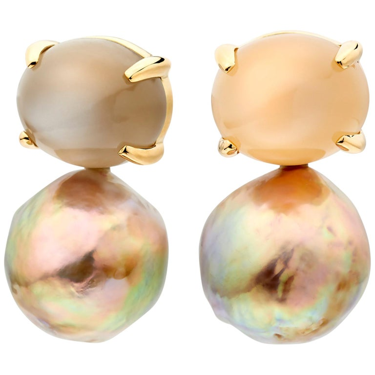 Lilly Hastedt moonstone and ming pearl earrings