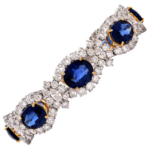1980s sapphire and gold bracelet. Offered by Dover Jewelry & Diamonds.