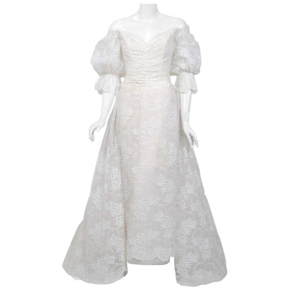 Christian Dior Haute Couture White Lace Off-Shoulder Trained Bridal Gown, 1987