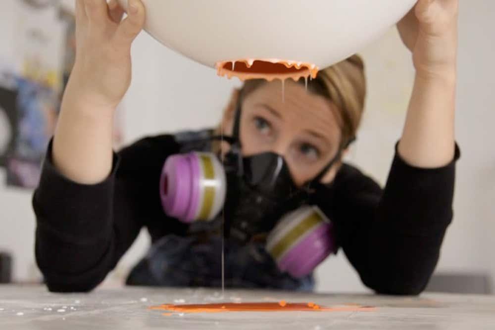 Elyse Graham working on a resin vase in her Los Angeles studio