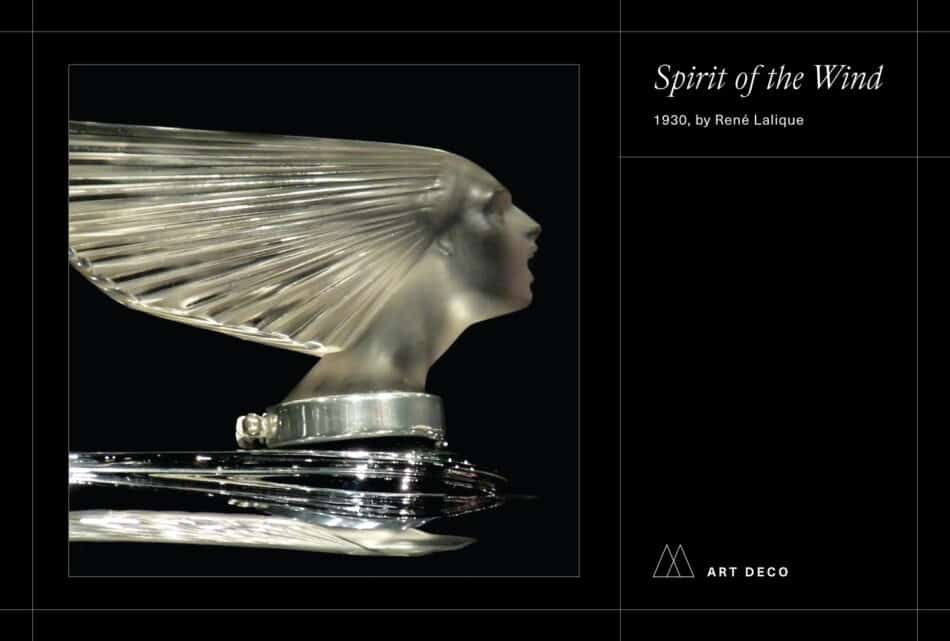 Photo of Lalique's Spirit of the Wind automobile decoration on black background