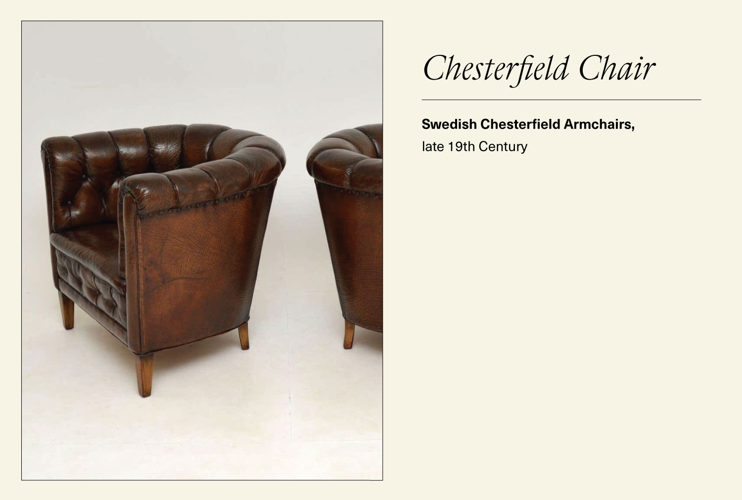 Pair of leather Swedish Chesterfield armchairs