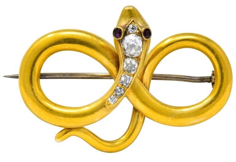 Gold infinity snake brooch, circa 1900