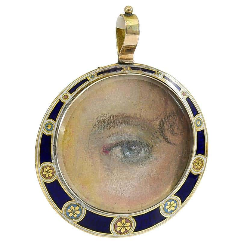 Georgian gold and pearl pendant with a painted lover's eye, 1820