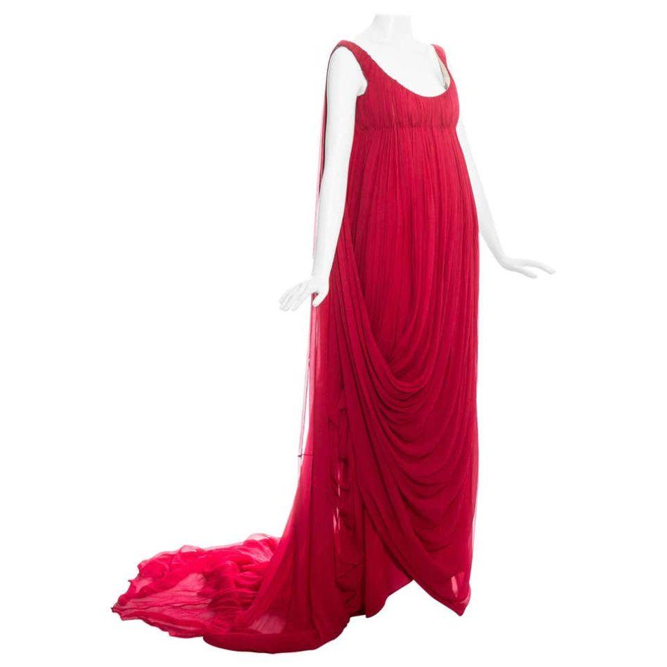Alexander McQueen Red Silk Chiffon Empire Evening Dress, Fall/Winter 2008