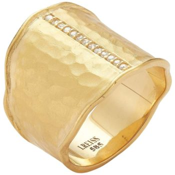 I. Reiss hammered gold cigar ring, new
