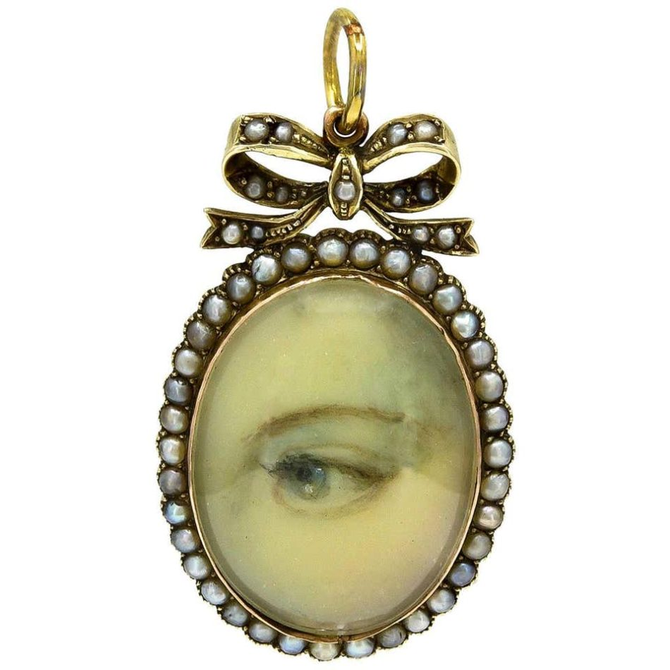Gold and pearl pendant with a painted lover's eye, 1820