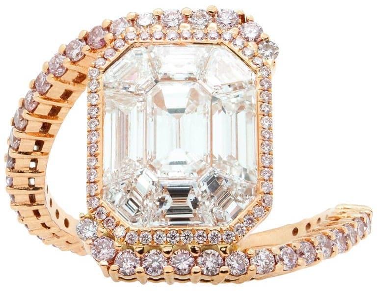 Emerald Cut White Diamond Rose Gold Cluster Ring