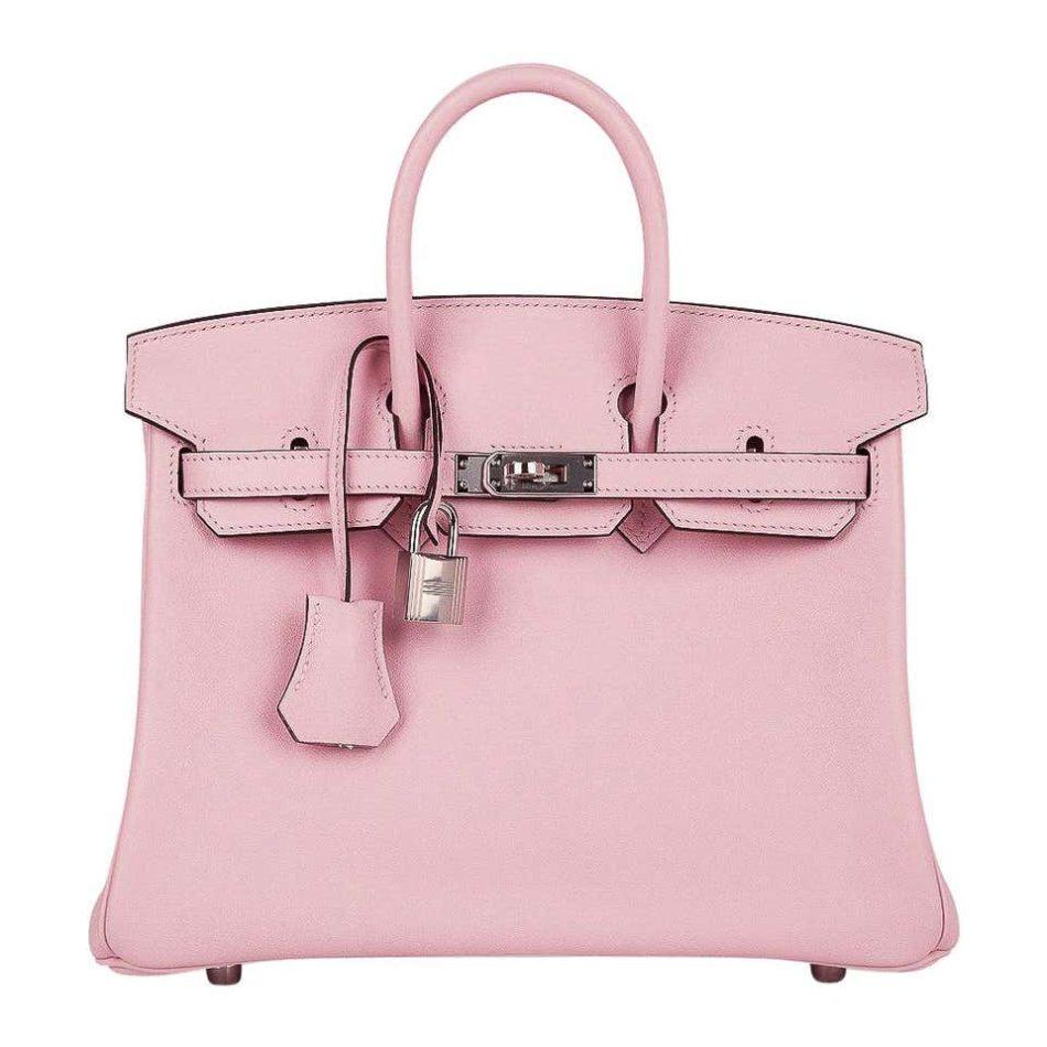 Hermès Birkin 25 Bag in Rose Sakura Palladium Swift Leather