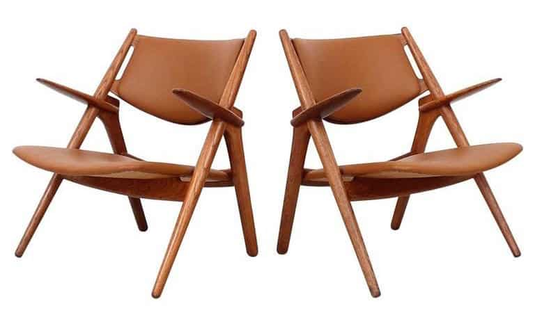 leather and wood armchairs