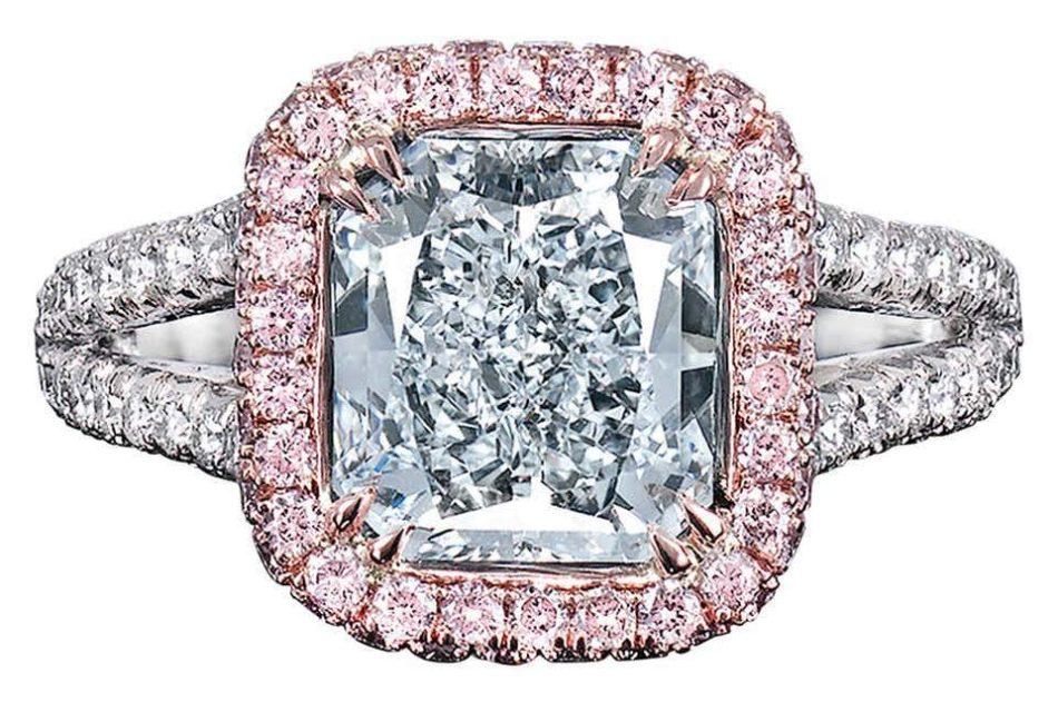 2.43-carat light blue diamond ring